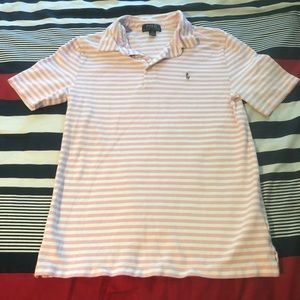 Pink and white polo shirt youth large